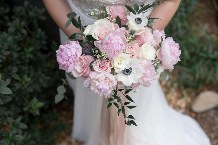 [Image: Garden mix bouquet of peonies, roses and anemones. ]
