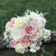 Blush and white roses and peonies