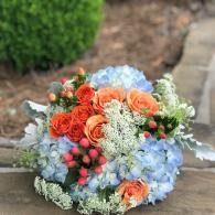 Blue and peach bouquet