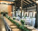 Farm table with garland at Blue Mountain Vineyard
