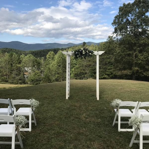 White Arbor with mountain view