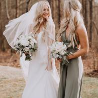 Sage green and white bouquet for bride and bridesmaid