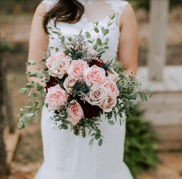 [Image: Take my breath away garden roses with accents of burgundy. Venue : Cold Creek Farm Dawsonville ]
